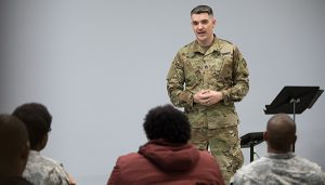 Sgt Ben Hilgert interviews military personnel for The Falling and The Rising